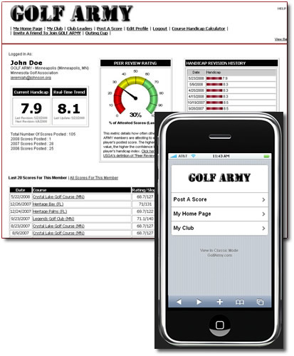 GolfArmy.com - A screenshot of a member home page